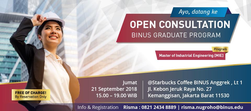Open Consultation: Program Magister Teknik Industri – BINUS GRADUATE PROGRAM